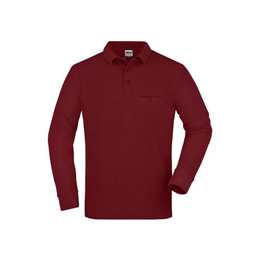 JAMES & NICHOLSON  Mens Workwear Polo Pocket Longsleeve (#JN866)